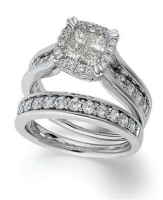 Princess Treasures Diamond Ring, 14k White Gold Princess-Cut Diamond ...