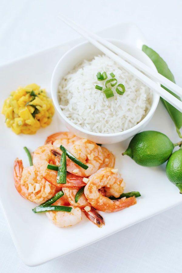 Spicy Sriracha Garlic Shrimp, Coconut Rice, Mango Basil Salsa ...