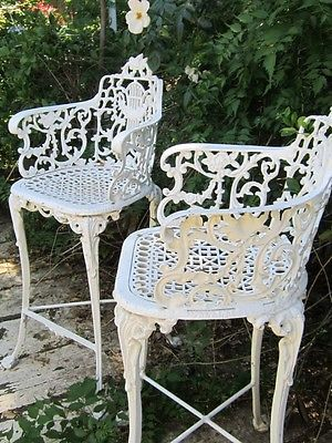 Vintage Victorian White Ornate Wrought Iron Chair Indoor or Outdoor