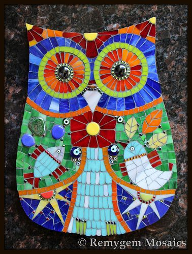 Mosaic owl by remygem mosaics hoots pinterest for Mosaic painting meaning