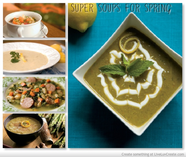 right: Pea Soup With Fresh Mint, Lightened Up Cream of Asparagus Soup ...