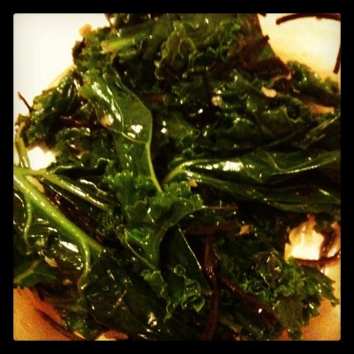Kale salad with seaweed, sesame seeds, and Braggs amino acid. YUM!