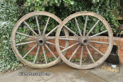 Set Of Two Vintage Wooden Cart Wheel Wagon Wheels Horse
