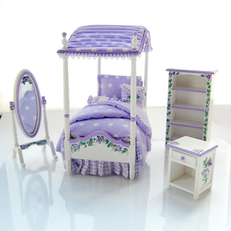 lavender purple twin girls canopy bed bedroom set hand painted