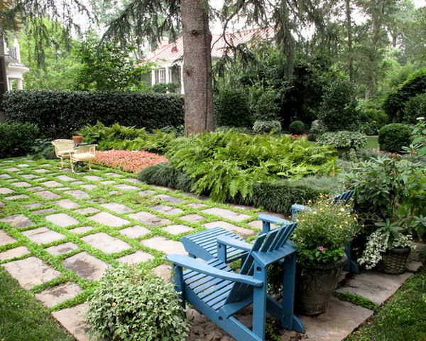Patio Designs Pavers Grass : Mixed patio pavers and grass ideas house exterior
