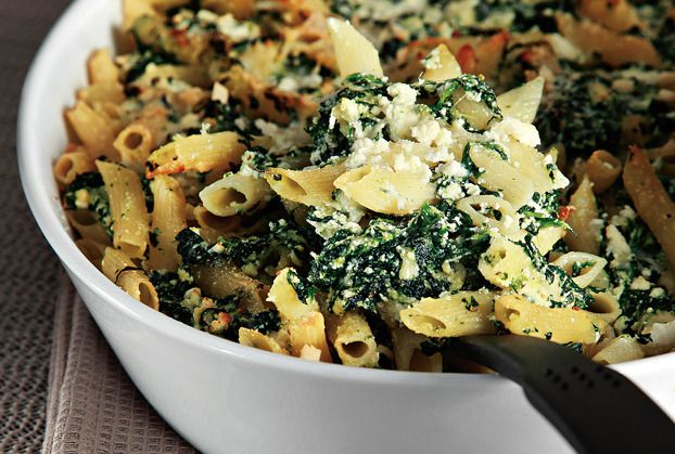Penne gratin with cream cheese and spinach-Click For Recipe