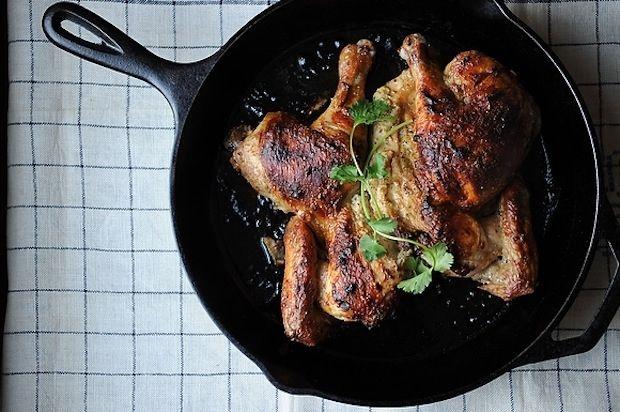roasted, butterflied yogurt cardamom chicken