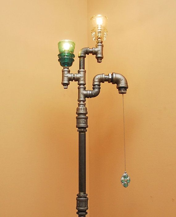 industrial style floor lamp with pull chain by trowedesigns. Black Bedroom Furniture Sets. Home Design Ideas