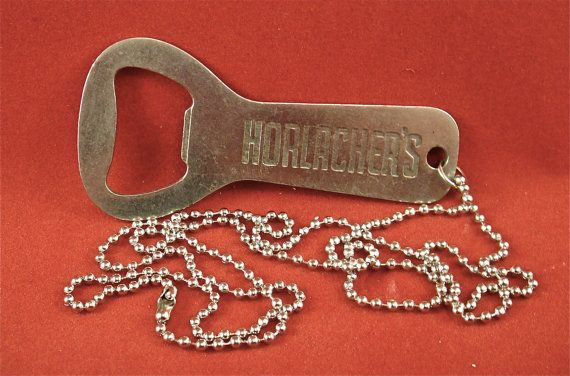cool vintage 1950s horlacher 39 s beer church key bottle opener necklace. Black Bedroom Furniture Sets. Home Design Ideas