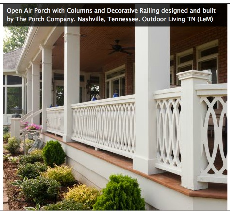 Front porch railing landscaping pinterest for Front balcony railing
