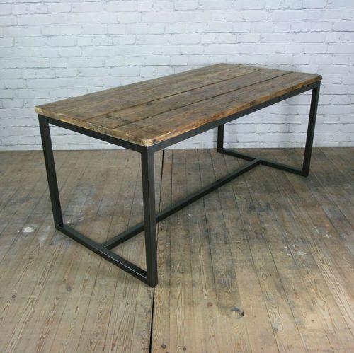 Vintage industrial steel rustic factory loft farm dining table : 3feabfe63c08d633637b6e872f2b7a5e from pinterest.com size 500 x 499 jpeg 40kB