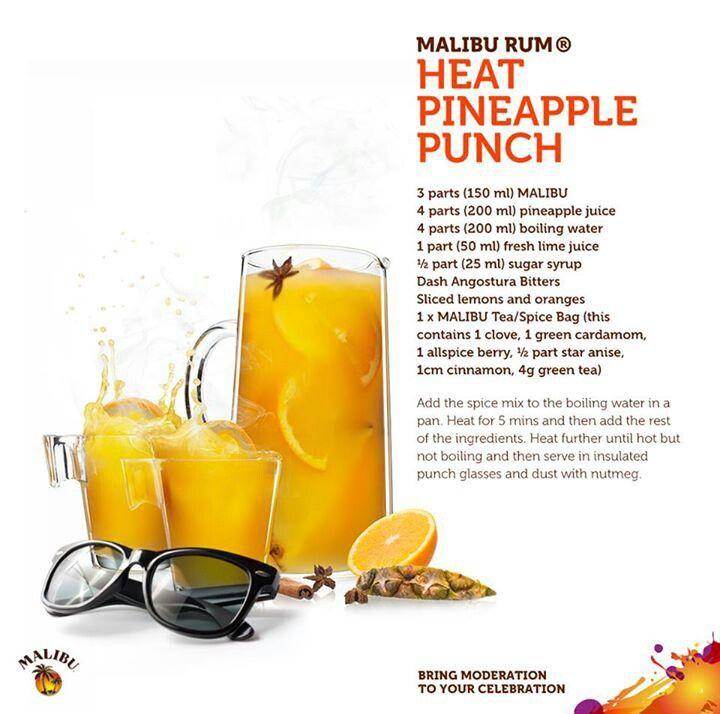 Malibu Rum Heat Pineapple Punch | Alcohol ! | Pinterest