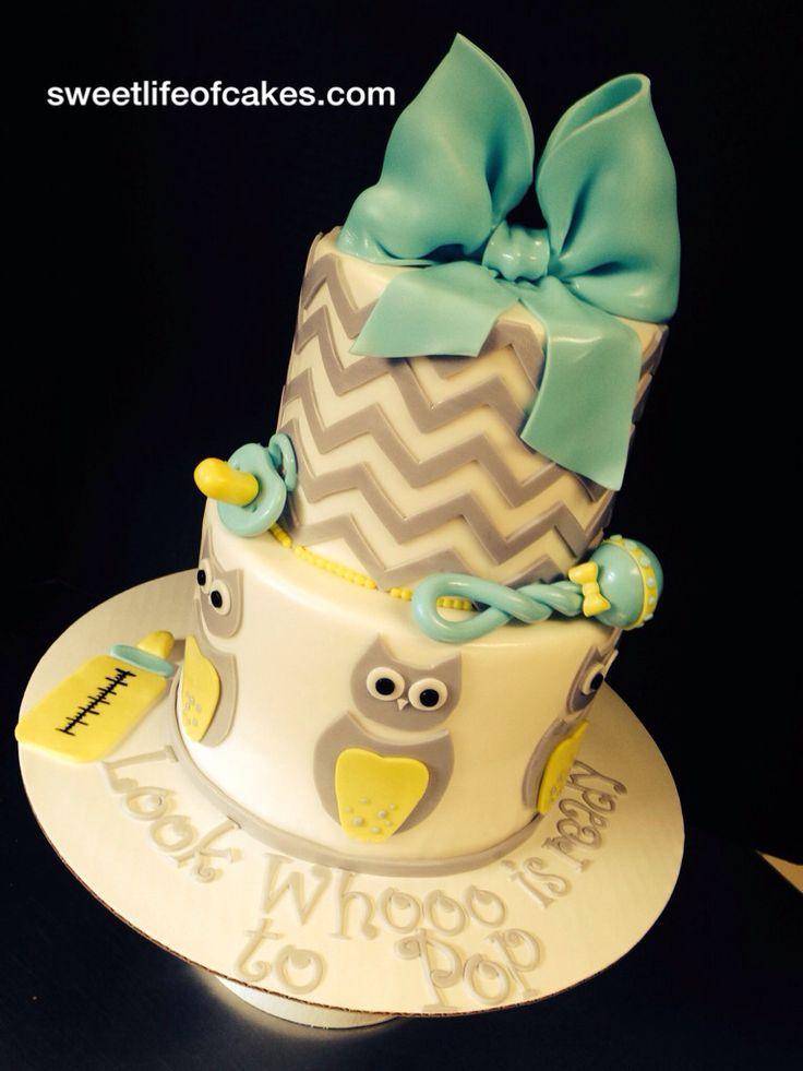 owl baby shower cake mashley pinterest