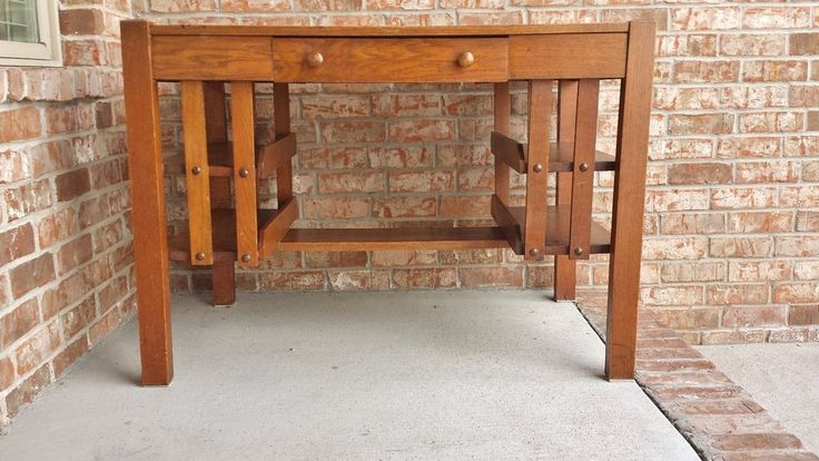 OFFICE SOLID OAK DESK TABLE ARTS CRAFTS MISSION STICKELY STYLE