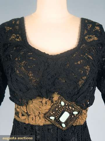Black Battenburg Lace Evening Dress, Germany, c. 1912. (View 2, Bodice Detail)