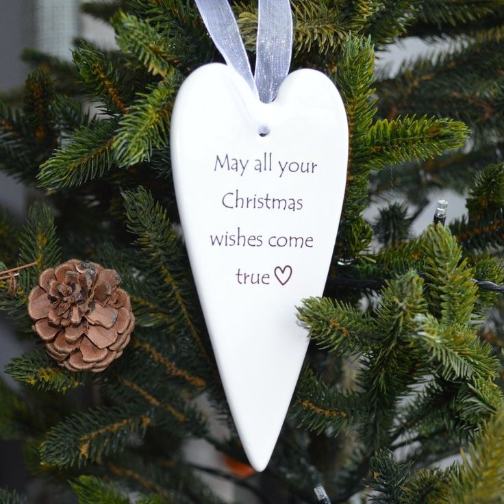 White Porcelain Christmas Wishes Heart £4.50.