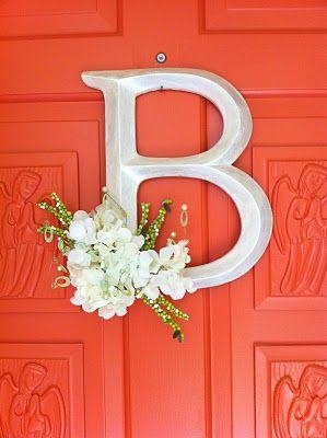Monogram letter instead of wreath for front door