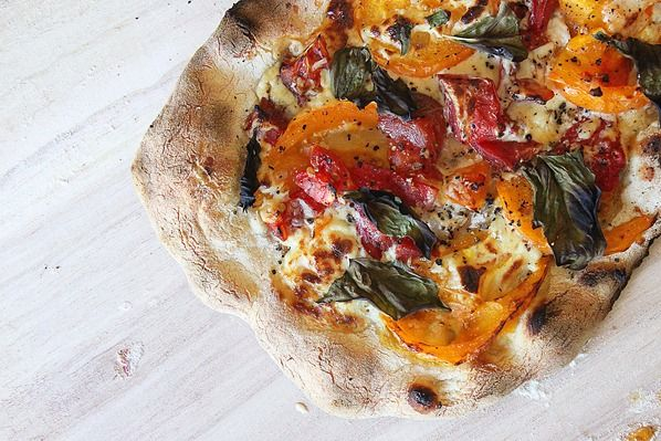 pizza with easy cashew cheese as the base with, fresh garden tomatoes ...