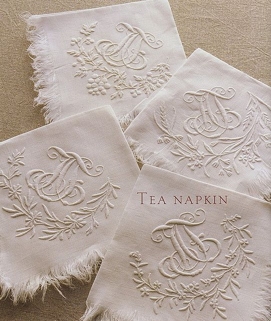 Beautiful embroidered white on white tea napkins - Yes, white on white!