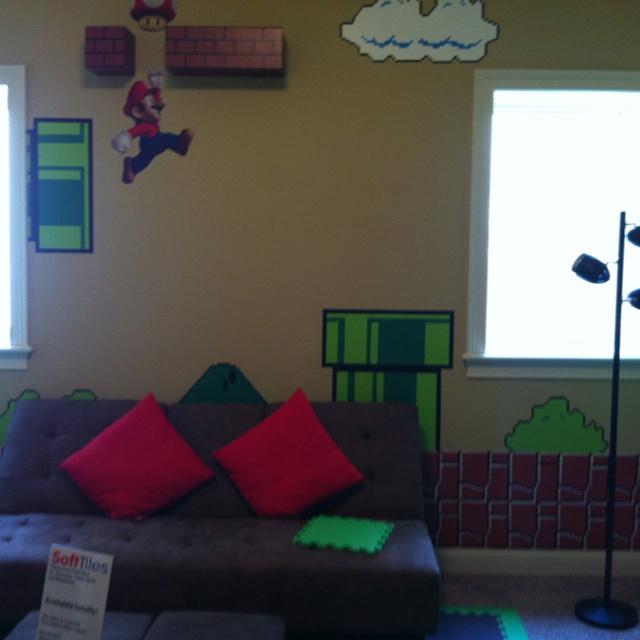 super mario bros themed bedroom great idea stencil brick border