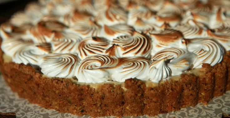 ... Cheesecake with a Pistachio-Shortbread Crust, Bruleed Meringue