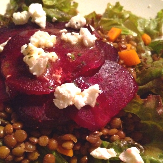 Warm lentil salad with roasted beets and goat cheese (bobby flay ...