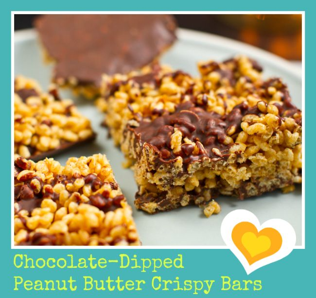 Chocolate-Dipped Peanut Butter Crispy Bars - puffed brown rice cereal ...