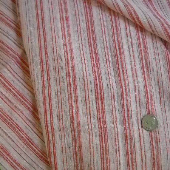 FABRIC FOR CURTAINS: vintage red and white stripe gauze fabric. $8.00 ...