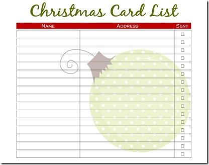 christmas card addresses list