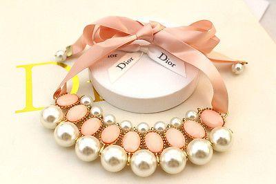 Fashion Pearl Choker Women Pearl Pendant Necklace Crystal Rhinestone