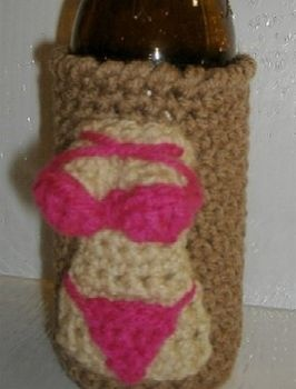 Crochet Koozie : Something different. A crocheted redneck beer bottle koozie