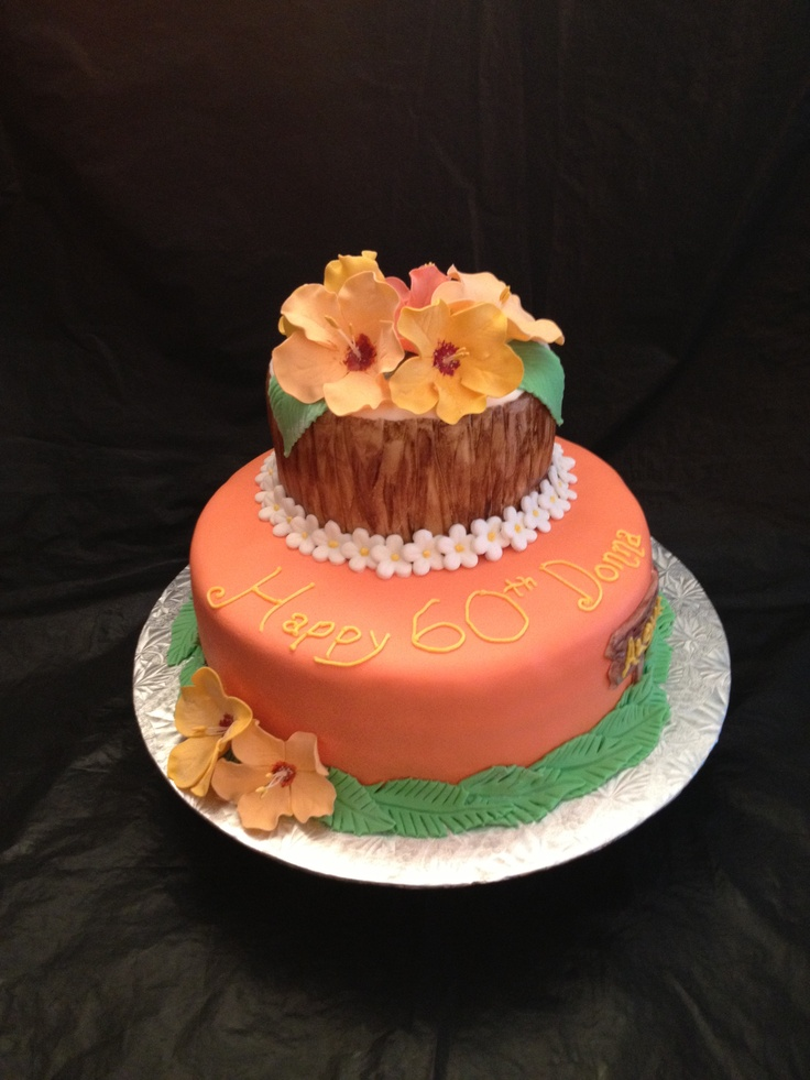 Hawaiian Birthday Cake With Hand Made Edible Hibiscus Frangipani And Plumeria All