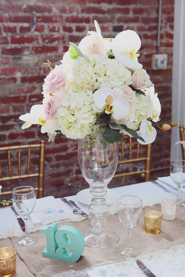 Orchid and hydrangea centerpiece shabby country chic