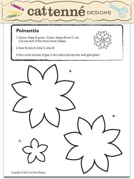 Free Poinsettia craft pattern | Papercraft | Pinterest