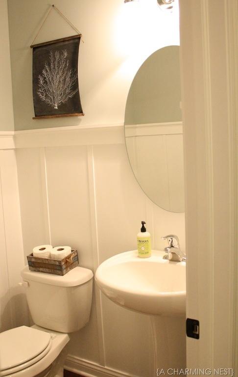 diy board and batten in 1 2 bath powder room pinterest. Black Bedroom Furniture Sets. Home Design Ideas