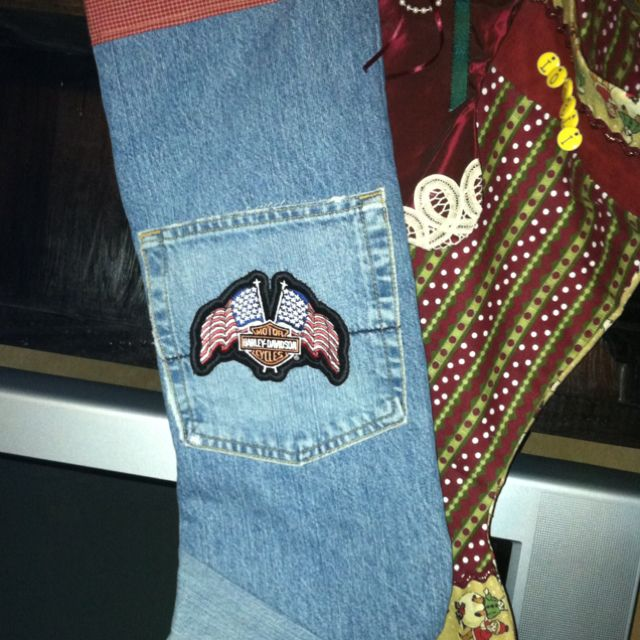 Harley Davidson Christmas stocking made from old jeans