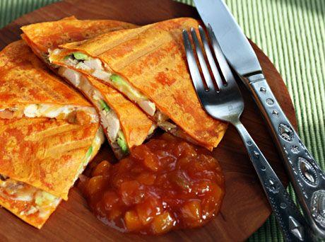 Chicken, avocado and peach salsa quesadilla