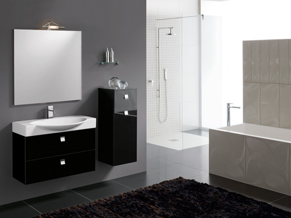 Bagno moderno in finitura nero lucido completo di base porta lavabo, l ...