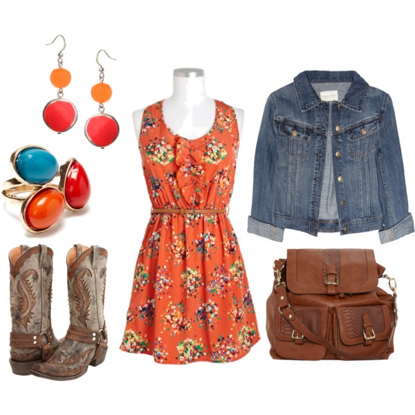floral ruffle dress + jean jacket