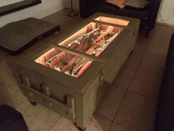 Gun display coffee table for home pinterest for How to build a coffee table display case