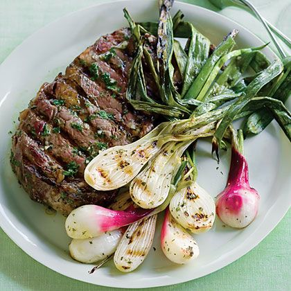 Grilled Spring Onions and Rib-Eye | Recipe