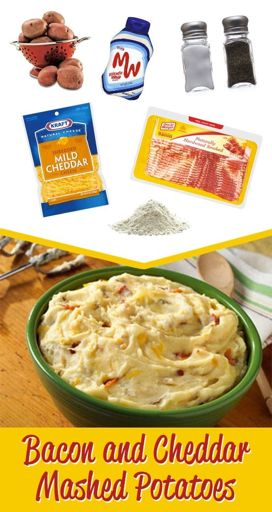 Mashed Potatoes With Bacon And Cheddar Recipe — Dishmaps