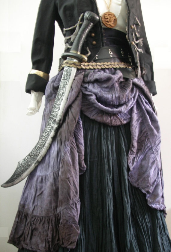 Complete Women's Pirate Costume in Purple / Black, Upcycled - 13