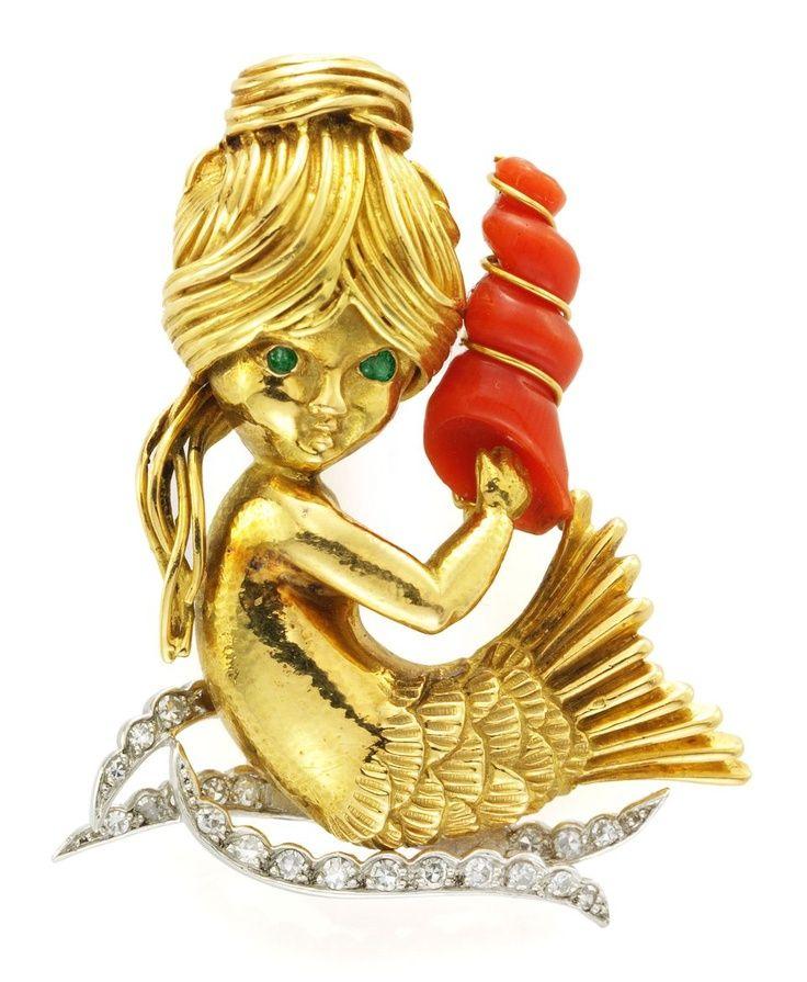 Un broche de esmeralda, coral y diamantes 'Mermaid', de Van Cleef & Arpels.  - Foto cortesía de FD Gallery