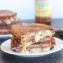 Corned Beef (or Pastrami) Caramelized Onion Grilled cheese