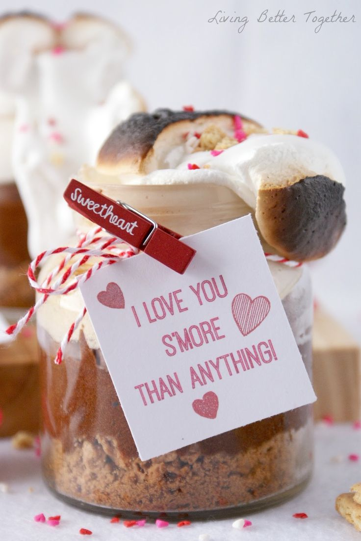 I Love You S'more than Anything - Valentine's Day Brownie S'mores in a Jar www.livingbettertogether.com