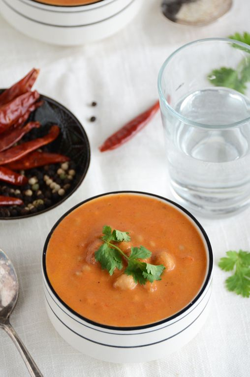Indian-Spiced Cream of Tomato Soup with Whole Wheat Couscous Recipe