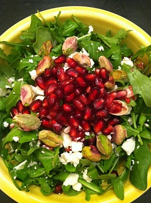 Pomegranate pistachio salad with baby arugula and feta cheese ...