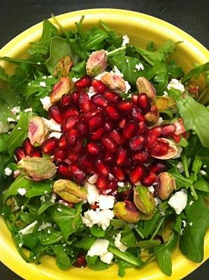 Pomegranate pistachio salad with baby arugula and feta cheese ...