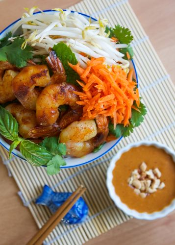 Tea Smoked Shrimp with Jasmine Noodles and Peanut Sauce | Thirsty for ...